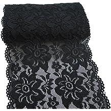 150mm Negro bordado floral elástico de encaje elástico tela del ajuste de la prenda y el
