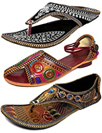 Thari Choice Women's Velvet Ethnic Slippers - Pack of 3