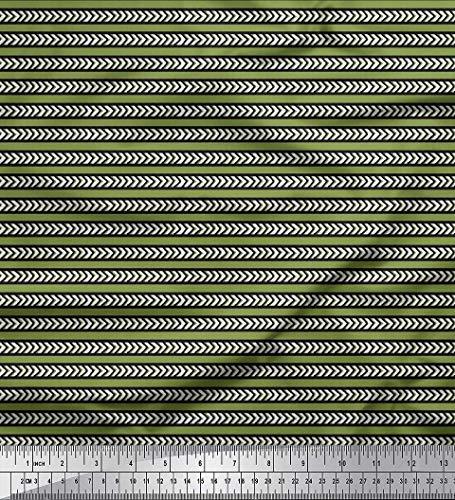 Soimoi Grün Samt Stoff Streifen & Pfeil Block Stoff Meterware 58 Zoll breit (Grüner Pfeil Kostüm Muster)