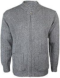 d7b5955e22c1d3 Mens Knitted Cardigan Classic Style Cardigans V Neck Zipper Jumper Plain  Coloured