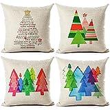 aipark 4PCS 45,7x 45,7cm Weihnachtsbaum Baumwolle Leinen Überwurf Kissenbezug Case Square Kissenbezug Set-D