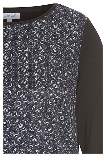 PEPPERMINT Plus Size - Damenshirt aus Materialmix Damen-Shirt,Shirt,3/4-Shirt,Plus-Size, Schwarz
