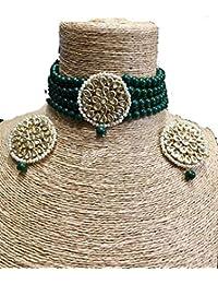 JARKAN JEWELLERS Green Beaded Onyx Kundan Choker Necklace Set With Earrings Bollywood Look