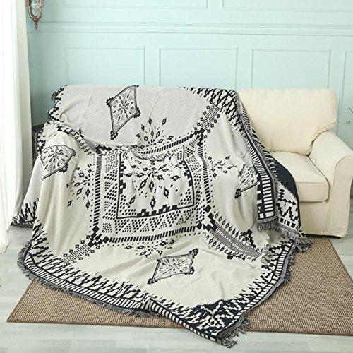 Reversibile copertura divano impermeabile per gli animali domestici, 1 pezzo cotone tricottato decorativo sofa throw coperta per salotto -beige 90x180cm(35x71inch)