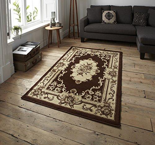 Marrakesh Traditional Floral Design Rug Machine Made 100% Polypropylene Large Floor Mat 240cm x 330cm (Brown)