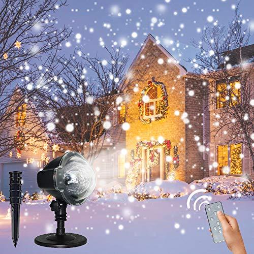 LED Projektionslampe, CREASHINE® Weihnachtsprojektor Lichter Projektions Lampe mit Fernbedienung Schneefall-Lichteffekt Stimmungsbeleuchtung Beleuchtung für Weihnachten Party Geburstag Hochzeit - Front Light System