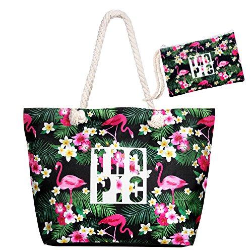 Czemo Große Strandtasche mit Reißverschluss und Innentasche Wasserdicht Badetasche Einkaufstasche Shopper für Damen - Innentasche Mit Reißverschluss