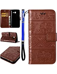 FESELE Samsung Galaxy J3 2017 Coque(Version Américaine),Samsung Galaxy J3 2017 Housse,Samsung Galaxy J3 2017 Étui Cuir,Premium Folio Cuir [Éléphant] Embossing Portefeuille avec Cordon Lanyard Retro Housse pour Samsung Galaxy J3 2017,Support Flip PU Leather Wallet Case Coquille Smart de Coque avec Card Holder étui pour Samsung Galaxy J3 2017 + 1 x stylet bleu - Marron