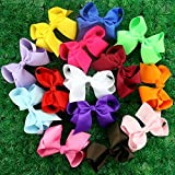"Janecrafts 14pc 4.5"" Boutique Splayed Hair Bows Girls Baby Alligator Clip Raised Grain Grosgrain Ribbon Headbands (With clips)"