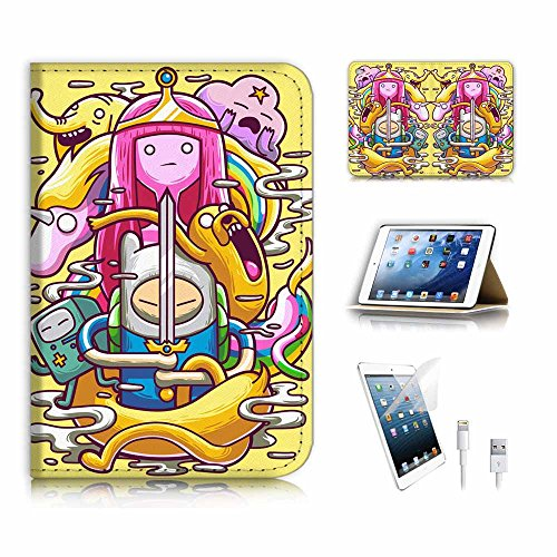 iPad Mini Generation 4 Flip Wallet Schutzhülle & Displayschutzfolie & Ladekabel Bundle. A6679 Adventure Time