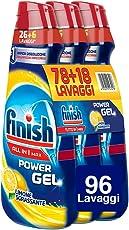 Finish Detersivo Lavastoviglie All in 1 Max Powergel, Limone, 3 x 650 ml, 96 Lavaggi