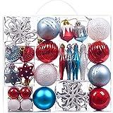 Victor's Workshop 50pcs Bolas de Navidad Decoracion Arbol Navidad, Rojo Azul y Blanco Adornos de Navidad Copos de Nieve Campanas Estrella Ornamento, 30-80 mm