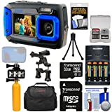 Coleman Duo 2V9WP Dual Screen Shock & Waterproof Digital Camera (Blue) With 32GB Card + Batteries & Charger + Diving LED Video Light + Buoy + Case Kit