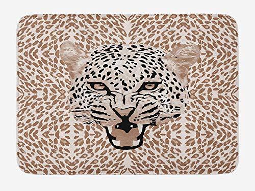 OQUYCZ Modern Bath Mat, Roaring Leopard Portrait with Rosettes Wild African Animal Big Cat Graphic, Plush Bathroom Decor Mat with Non Slip Backing, 23.6 W X 15.7 W Inches, Cocoa Beige Black Leopard Rosette