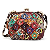 Crossbody Taschen für Frauen, OURBAG Double Zipper Schultertasche Tote Handtasche Geldbörsen mit Blume Sommer Stil