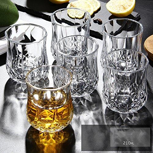 ystal whiskeygläser,Retro-diamant bier becher haltbar weingläser shot gläser für bier whisky milch saft tee kaffee 250ml 6er set-D ()