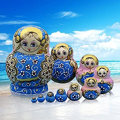 K&C Handmade Wooden Traditional Russian Nesting Dolls Matryoshka Dolls Set 10 Pieces Pink Blue