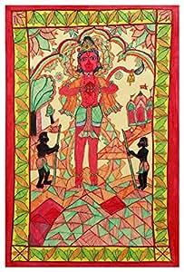 Madhubani Handcraft Hanuman Jee Paper Painting (97 cm x 144 cm x 0.01 cm)