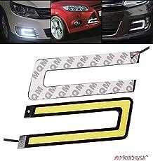 Autoxygen Car U Shape Cob LED DRL Day Time Running Light Water Proof White Fog Light - Set of 2 Pcs.