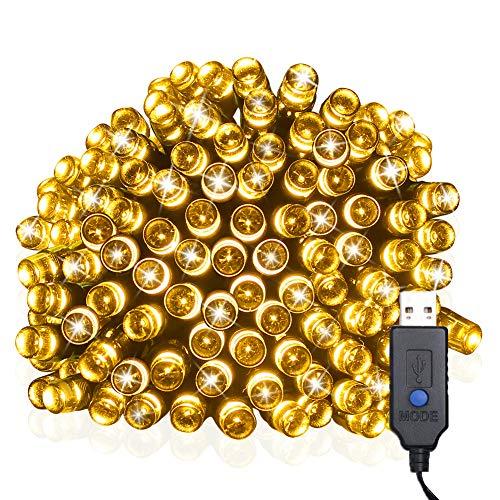 Weihnachtslichterkette (8 Betriebsmodi), USB betriebene 39ft 100LED Draht Lichter, wasserdichte Lichterketten, Fee Twinkle dekorative Lichter für Chirstmas Baum, Garten, Terrasse und Home (Warmweiß)