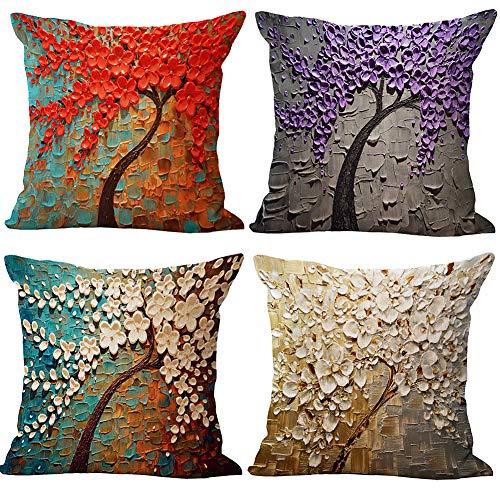 JOTOM Baumwolle Leinen Ölgemälde Große Baum und Blume Kissenbezüge Abdeckung Blume Kissenbezug für Zuhause Dekorative Couch Sofa 45x45 cm, 4er Set (Ölgemälde Baum und Blume)