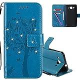 COTDINFOR Huawei Y3 2017 Hülle für Mädchen Elegant Retro Premium PU Lederhülle Handy Tasche mit Magnet Standfunktion Schutz Etui für Huawei Y3 2017 Blue Wishing Tree with Diamond KT.