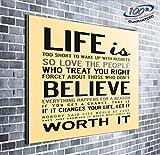 Das Leben ist zu kurz inspirierendes Zitat gerahmt Wall Art Print auf Leinwand Bild größer fertig zum Aufhängen Atemberaubende Ergänzung für jede Wand, 50 inch x 50 inch