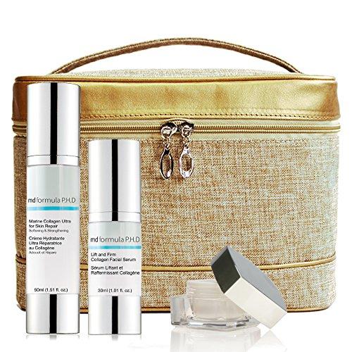 MD Formula PHD Bag Set: Lift und Firm Collagen Facial Serum, Marine Collagen Ultra For Skin Repair, Coldtox Eye Serum, 1er Pack (1 x 3 Stück) - Facial Moisturiser Lift
