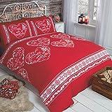 Christmas Hearts Lemas, corazones navideño Copo de nieve colcha juego de funda de edredón y funda de almohada juego de ropa de cama, rojo, sola
