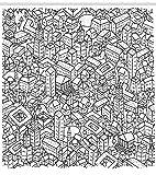 Abakuhaus Duschvorhang, Stadt mit Gebäuden Wolkenkratzern in Cartoon Stil Hingezeichnetes Stil in Schwarz-Weiß Druck, Blickdicht aus Stoff mit 12 Ringen Waschbar Langhaltig Hochwertig, 175 X 200 cm