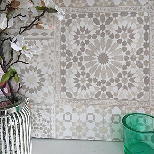 Marrakesh Reclaimed Mosaic Patterned Tile Effect Wallpaper in Beige & White (Sample Only)