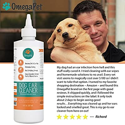 OmegaPet Dog Ear Cleaner | Itching, Odour and Gunk Gone in 2-3 Days | Gentle Natural Drops Best for Yeast, Mites and Infection