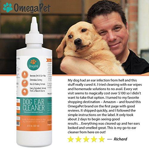 OmegaPet Hund Ohrreiniger, 100% Wirkung in 2-3 Tagen bei Juckreiz, Geruch, Ausfluss, Hunde- und Katzenohren, saubere alkoholfreie Pflege und Hygiene Ohrenreiniger gegen Hefepilze, Milben, Ohrenschmalz und Entzündungen - 2