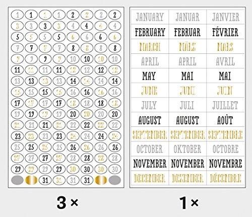 Rayher 60908000 Sticker Zahlen/Tage und Monate set, Glam, Btl. 4 Blatt, Abziehbilder, in den Farben gold, grau, schwarz, weiß