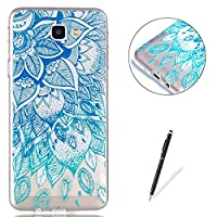 Galaxy J5 Prime Clear Crystal Case KaseHom Art Painting Premium TPU Back and [Free Black Stylus Pen] Anti-Scratch Slim Flexible All Around Protection Silicone Cover Shell - Blue Leaves