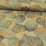 Stoffe Werning Dekostoff Herbstblätter Royalblau -Preis Gilt für 0,5 Meter