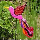 Pflanzenstecker Paradiesvogel, Gartenkunst, Gartenskulptur, Beetstecker Holz, Blumenstecker, Gartendekoration, Gartendeko Vögel, Gartenstecker rosa