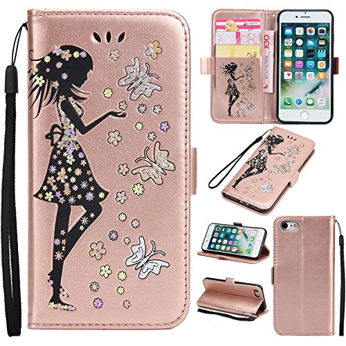 EKINHUI Case Cover Fairy Girl & Flowers Embossing Pattern PU Ledertasche Horizontale Flip Stand Brieftasche Tasche mit Lanyard & Card Slots für iPhone 7 ( Color : Pink ) Rosegold