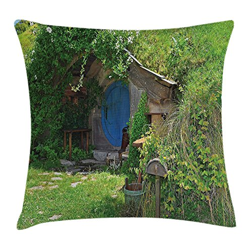 Yinorz Hobbits Throw Pillow Cushion Cover, Fantasy Hobbit Land House in Magical Overhill Woods Movie Scene New Zealand, Decorative Square Accent Pillow Case, 18 X18 Inches, Green Brown Blue