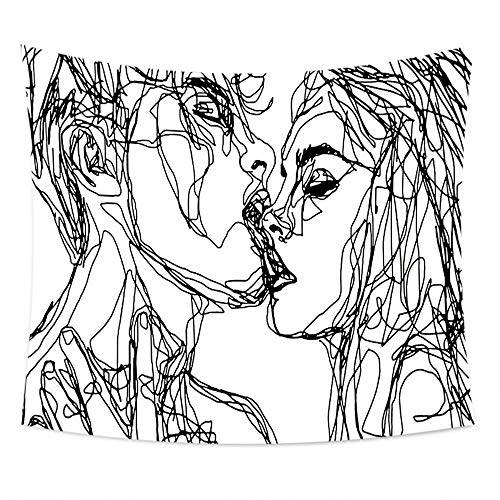 JUNMAONO Kuss Wandteppiche Schwarz und weiß Tapisserie Tischdecke Tabelle Vorhang Wandtuch Tapestry Wandbehang Wand Schlafzimmer Wohnzimmer Dekoratives (Weiße Und Schwarze Blumen-vorhänge)