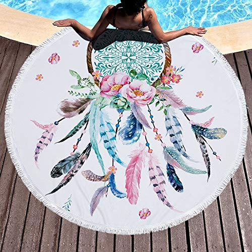 ianer Mandala Mikrofaser Runder Strand Große Fransen Serviette De Plage Handtuch Decke Mit Quasten Im Freien ()