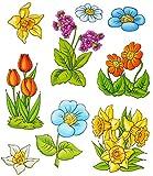 alles-meine.de GmbH 3 * 9 tlg. Set _ Fensterbilder -  Blumen - Tulpen / Narzissen - Ostern & Früh..