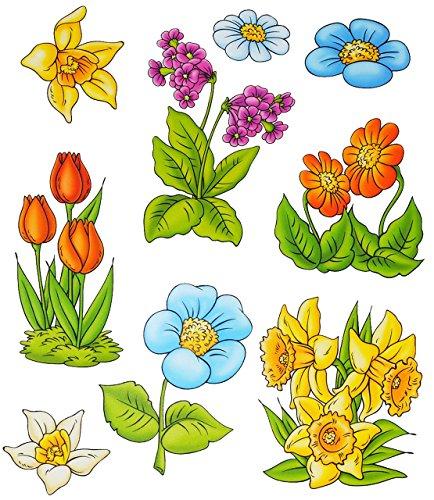 alles-meine.de GmbH 3 * 9 TLG. Set _ Fensterbilder -  Blumen - Tulpen / Narzissen - Ostern & Frühling  - statisch haftend - selbstklebend + wiederverwendbar / Sticker Fensterst..