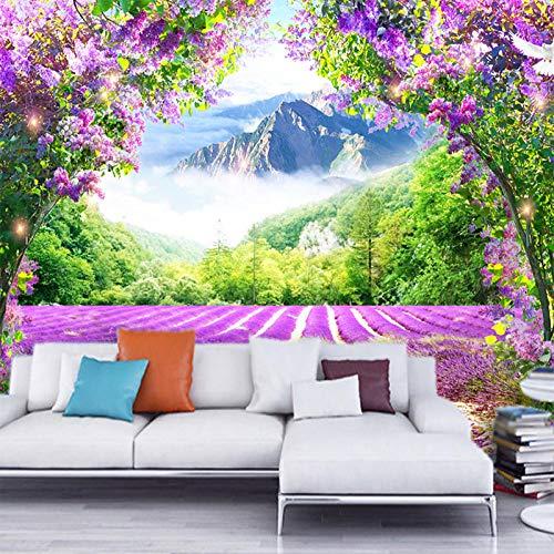 Vine Grafiken (Jfwsbz 3D Seide Tapeten Wandtattoos Wandbilder Custom Photo Wallpaper Fresh Lavender Flower Vine Arch Wallpaper Modern Living Room Bedroom Sofa Decoration Papel De Parede-350Cmx245Cm)