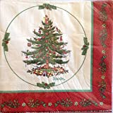 Spode Christmas 403-ply lunch Napkins, red Border