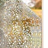 rabbitgoo 3D Fensterfolie Selbstklebend Sichtschutzfolie Statisch Klebefolie für Fenster Glastür Dekofolie Kreise Muster Anti-UV 44.5 x 200 cm