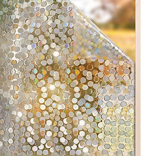 rabbitgoo 3D Fensterfolie Selbstklebend Sichtschutzfolie Statisch Dekofolie Kreise Muster Anti-UV 90 x 200 cm - Fenster-folie Wiederverwendbare