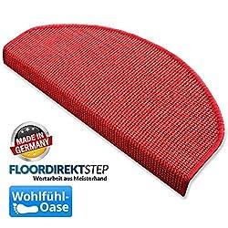 Sisal - Stufenmatten, Stufenmatte, Treppenteppich, MA rot groß, gewebt in natürlicher, schöner Sisalstruktur,eingepresster Treppenwinkel für sicheren Halt, wohnlichen Farben und rutschsicher für Mensch und Tier