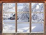 Stil.Zeit Möbel Winterlandschaft mit Hütte Fenster 3D-Wandsticker Format: 92x62cm Wanddekoration 3D-Wandaufkleber Wandtattoo