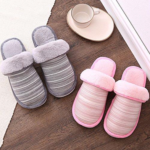 YMFIE Peluche Hiver Bande Thermique Plancher Usure Antiskid Couples Chaussures Pantoufles en Coton
